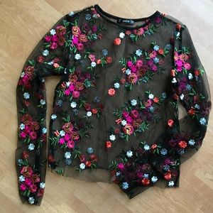 Shein Embroidered Floral Mesh Top